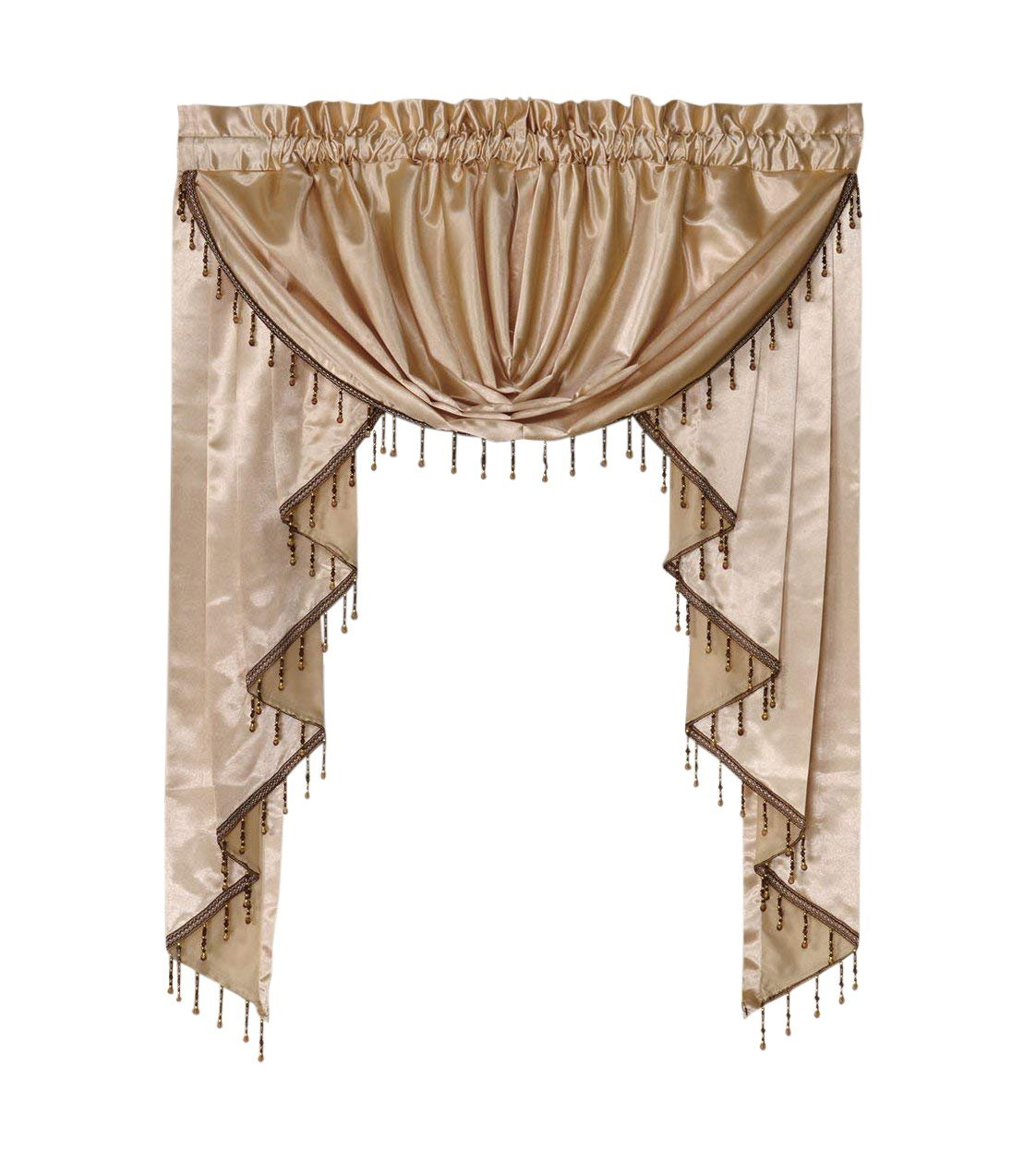 Octorose ® Royalty Custom Waterfall Window Valance Swags & Tails (Cream, swag(66x37WxH)) swag(66x37WxH))