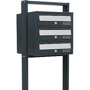 HOMCOM 3-fach Briefkastenanlage Standbriefkasten Edelstahl Briefkasten mit Füßen