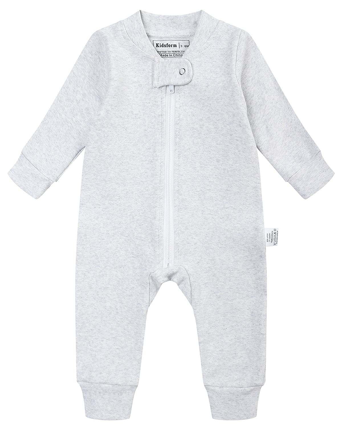 Amazon.com: Kidsform Baby Cotton Romper Boys Girls Bodysuit Zip Up Pajamas Long Sleeve Jumpsuit Footless Onesie: Clothing