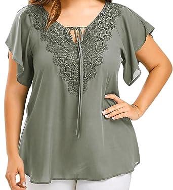 03c53b346065c3 LD Womens Casual Lace Print Drawstring V Neck Top T-Shirts Blouse at Amazon  Women s Clothing store