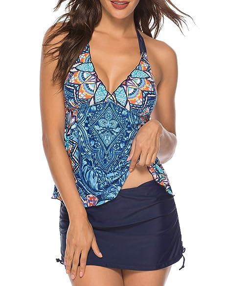 Amazon.com: ColorSun traje de baño de 2 piezas para mujer ...