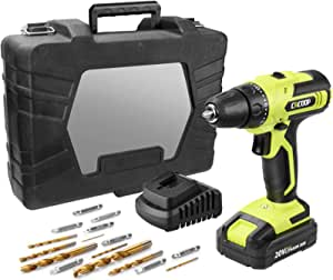 CACOOP 20V MAX Cordless Drill Set with Battery and Rapid Charger, Robust Titanium Plated Drill Bits,LIght Weight Battery Powered Lithium-Ion Small Drill Driver
