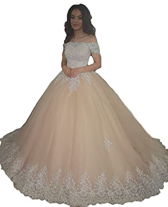 9ef4135fc16 Women s Off Shoulder Long Prom Ball Gown Appliques Quinceanera Dresses  Champagne 2