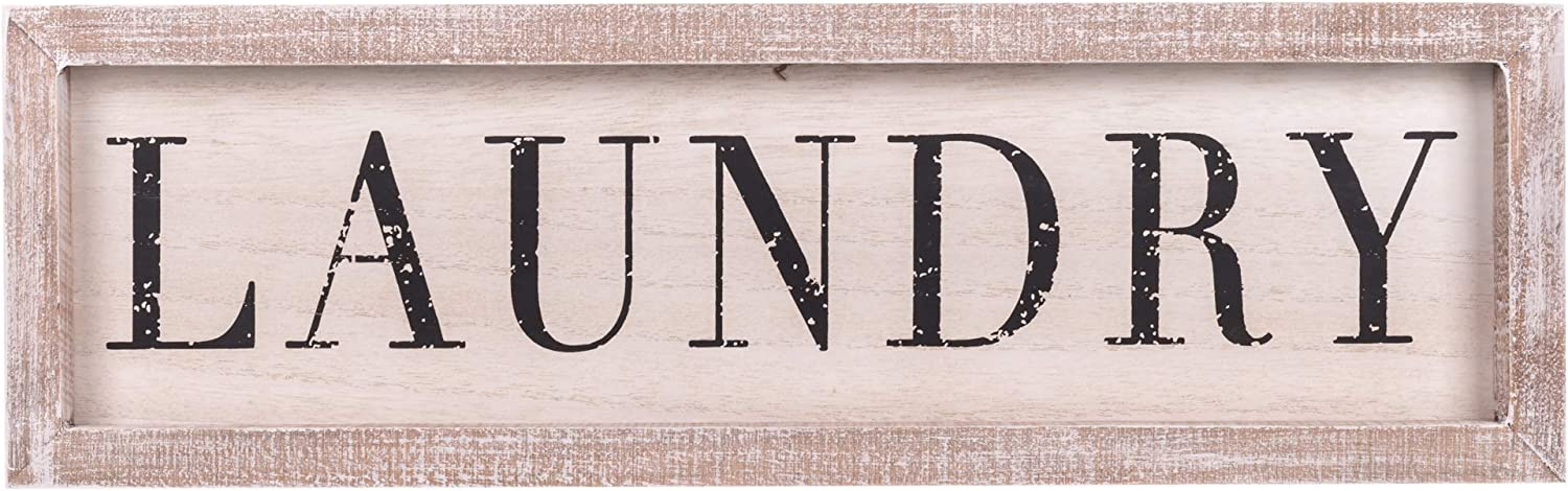 The Country House Laundry Farmhouse Distressed White 16 x 5 Rustic Wood Decorative Sign Plaque