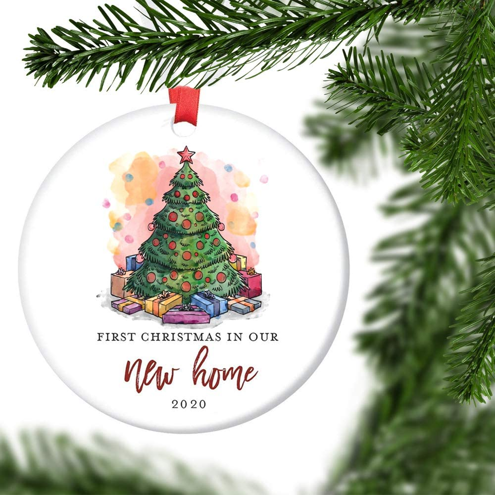 "JCA New Home Ornament 2020 1st Christmas in Our New Home, Christmas Tree Ornament Housewarming Gifts Xmas Present Idea Ceramic Keepsake 3"" Flat Circle Porcelain with Ribbon"