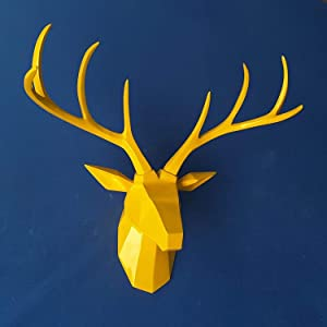 TJZY Wall Sculptures-Wall Mounted Animal Wildlife Home Decor Decoration Wall Decorations Mural Wall Deer Head Bar Decoration Woodland Deer Antler Antler Male Simulation Resin Wall Hangi