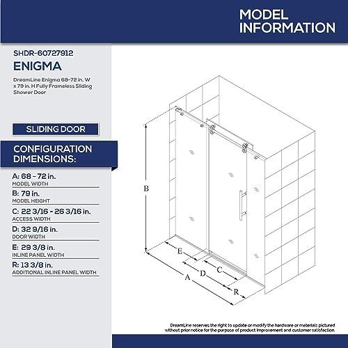 DreamLine Enigma 68-72 in. W x 79 in. H Fully Frameless Sliding Shower Door