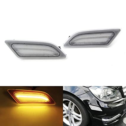 iJDMTOY Clear Lens Amber Full LED Front Side Marker Light Kit For 2012-14  MercedesW204 LCI C250 C300 C350 Sedan/Coupe, Powered by SMD LED, Replace  OEM