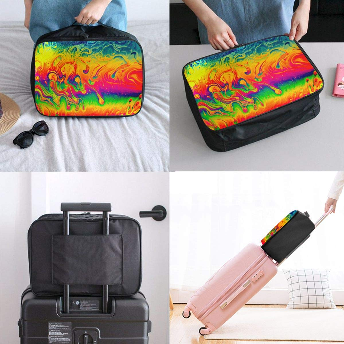Travel Fashion Lightweight Large Capacity Duffel Portable Waterproof Foldable Storage Carry Luggage Tote Bag Watercolor Fantasy Color Neon