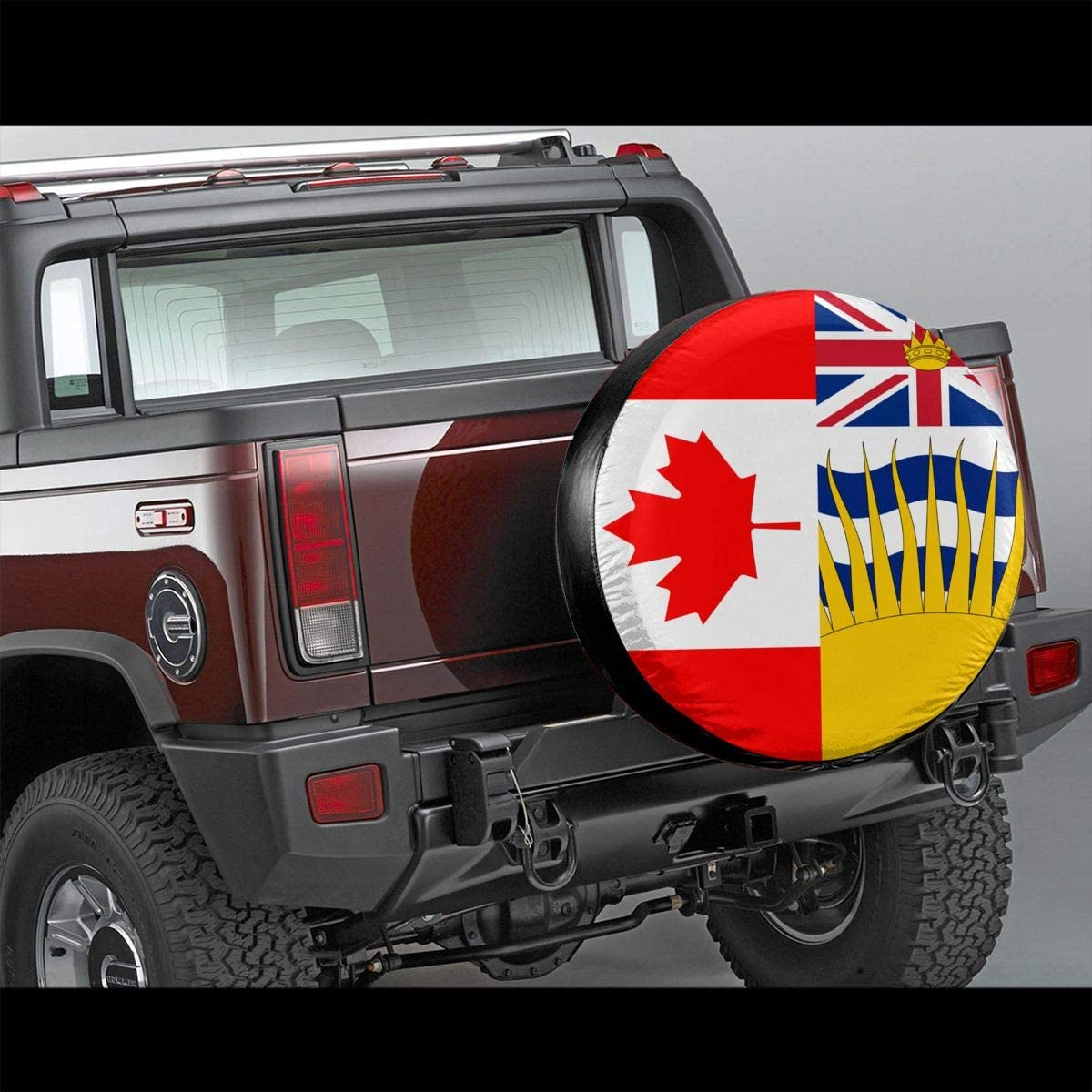 British Columbia Flag and Canada Flag Spare Wheel Tire Cover Waterproof Dust-Proof Fit for Trailer RV SUV and Many Vehicle 14 15 16 17