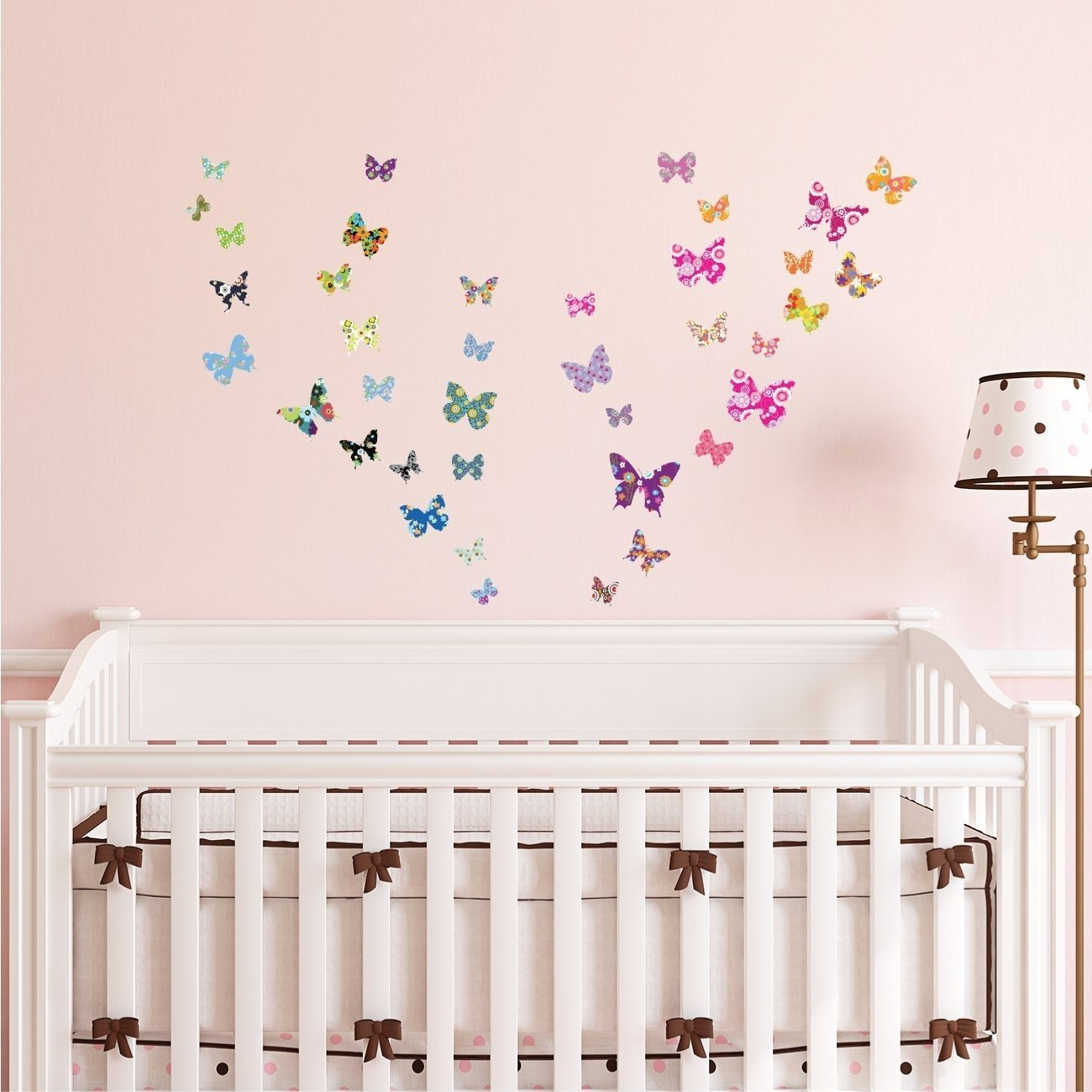 Decowall DW-1201 38 Colourful Butterflies Kids Wall Stickers Wall Decals Peel and Stick Removable Wall Stickers for Kids Nursery Bedroom Living Room