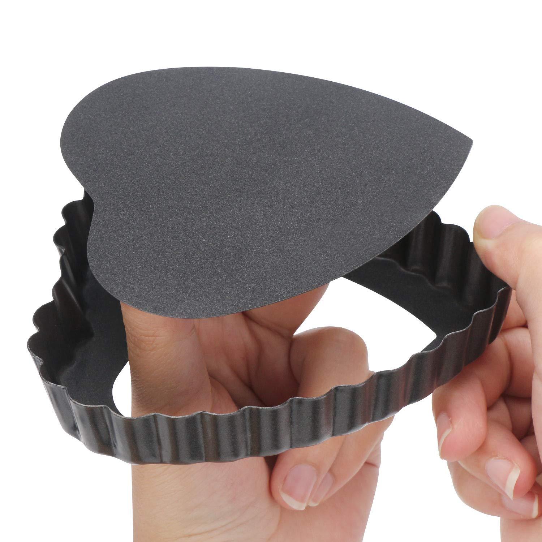 Quiche Pan, Beasea 6pcs 4 Inch Non Stick Pie Pan Heart Shape Tart Pan Removable Bottom Mini Tart Pans by Beasea (Image #3)