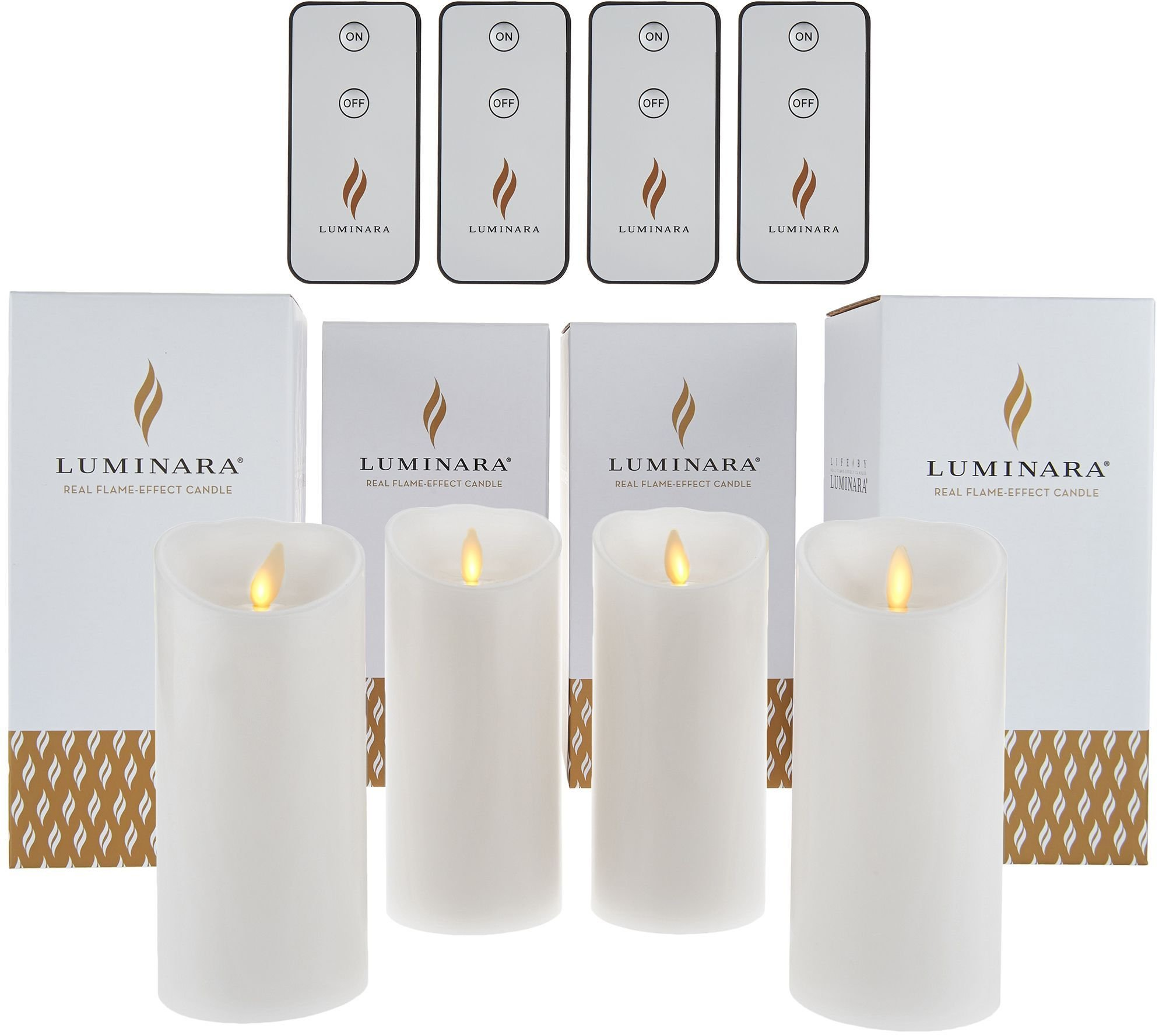 Luminara 6'' Unscented Flameless Candles with 4 Remotes - Set of Four White