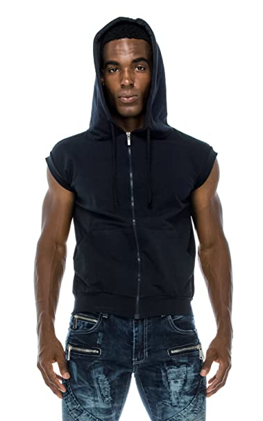 828ad989390eff Angel Cola Men s Sleeveless Hoodie Zip Up Midweight Cotton Vest at Amazon  Men s Clothing store