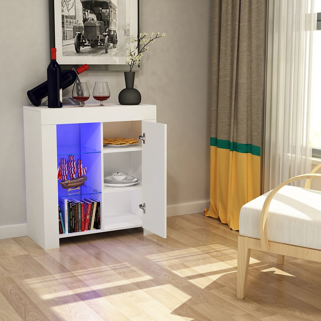 Panana Tuff Concetps High Gloss Sideboard Storage Cabinet with RGB LED Lighting Living Room Dining Room Furniture Cupboard (Type B White)