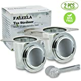 2 pcs Stainless Steel Tea Infuser Premium Mesh Tea Strainer Filters Tea Interval Diffusers Set of 2 for Loose Leaf Tea (1Pc Free Tea Scoop Included)