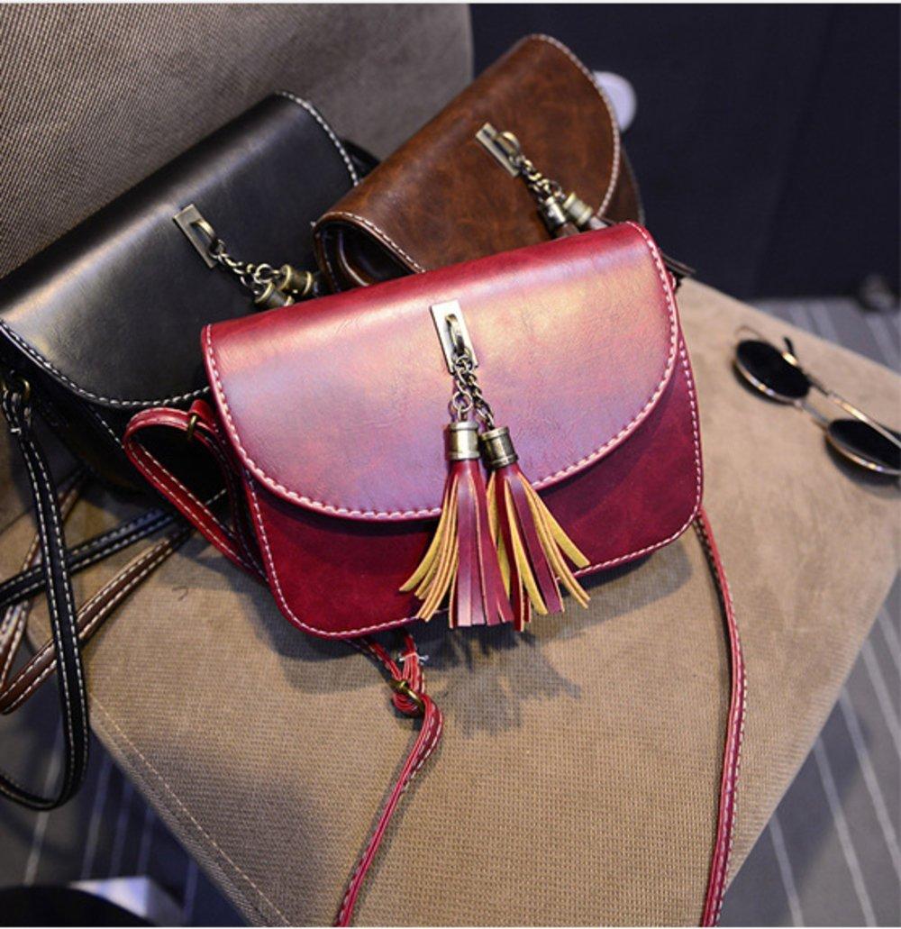 Brag Bag Small Black Leather Handbags For Women Mini Crossbody Purse Tassel Bag Womens Shoulder Bag by BragBag (Image #5)