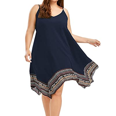 Chuanqi Plus Size Women's Boho V Neck Spaghetti Straps Patchwork Asymmetric Hem Solid Color Dress