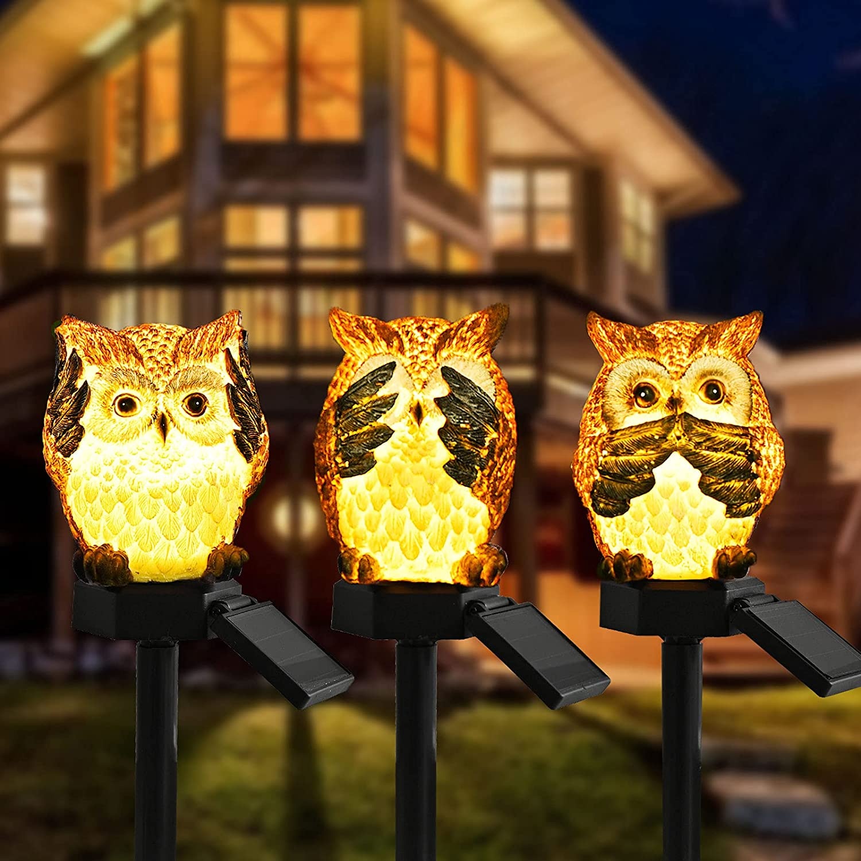 AMZNian Cute Small Baby Owls Garden Decor, Solar Outdoor Garden Lights, Solar Landscape Pathway Outdoor Decorative Stake Lights for Garden, Patio, Walkway, Yard