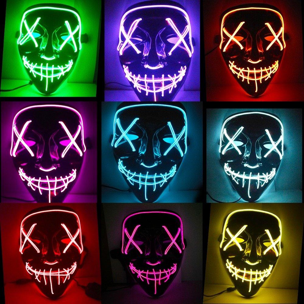 BIOSTON Costume Mask,LED Light Up Purge EL Mask Festival Cosplay Halloween Parties