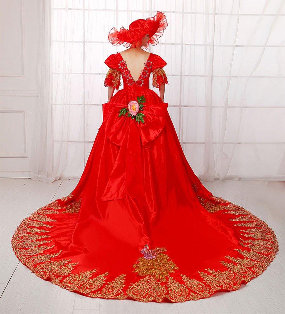 Zukzi Women's Gorgeous Victorian Train Ball Gown Wedding Dress, US 18, #W018 Red by Zukzi (Image #3)