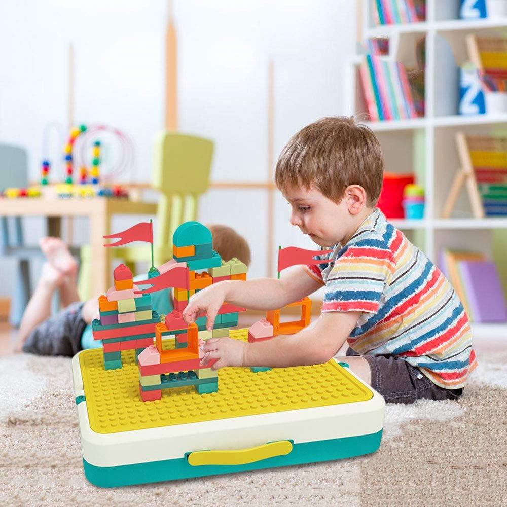 Ensamblar Juguetes,Mesa de Actividades Mesa de Juegos 5 en 1 para Niños Juguetes de Aprendizaje para Niños y Niñas con Bloques, Rompecabezas, Ajedrez Volador y Tablero de Dibujo