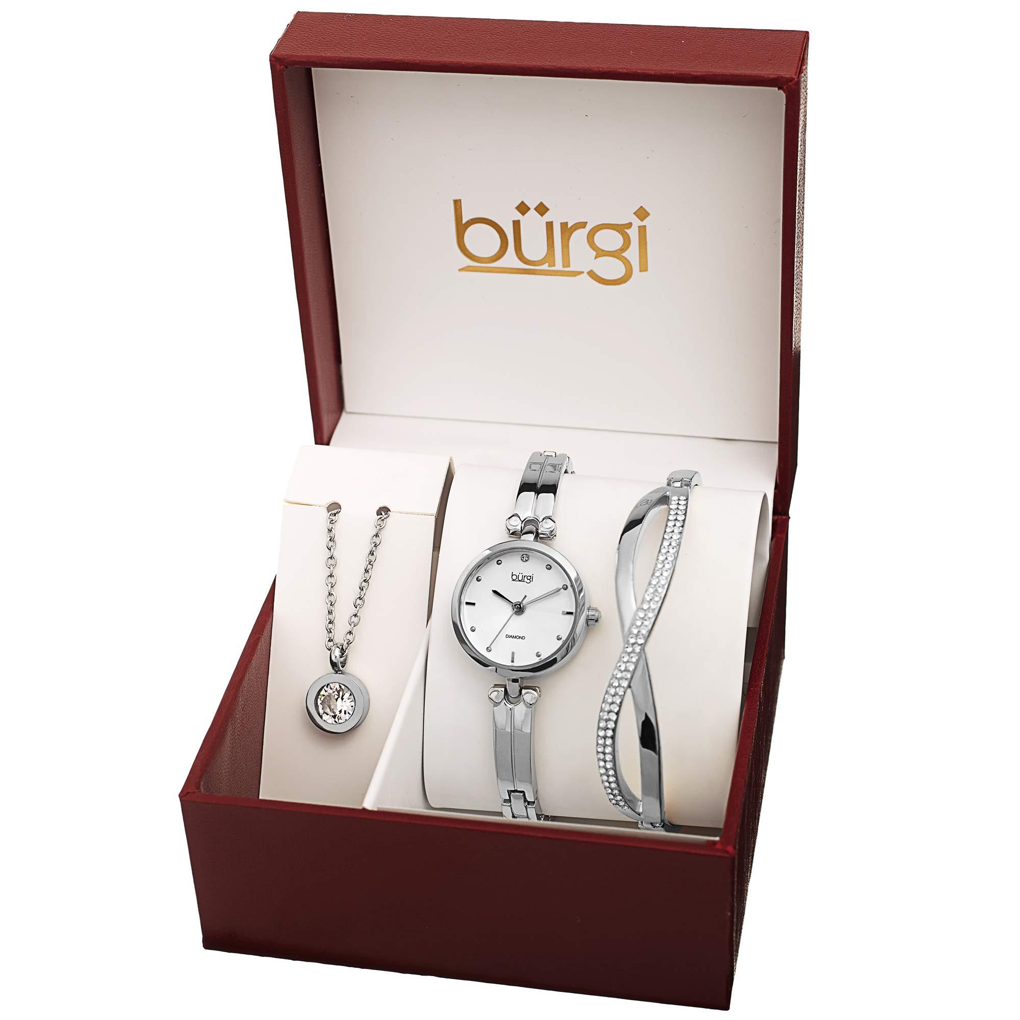 Burgi Women's Jewelry Gift Set - Half Bangle Diamond Watch, Swarovski Crystal Pendant Necklace and Bracelet - Flash Plated Silver - BUR212SS-S