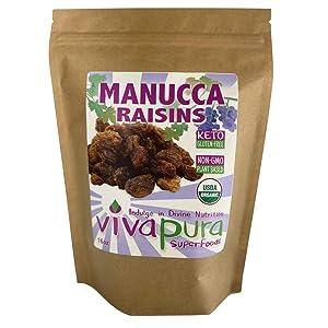 Vivapura Superfoods Organic Manucca Raisins, 16 oz - Raw   Vegan   Keto   Resealable Pouch