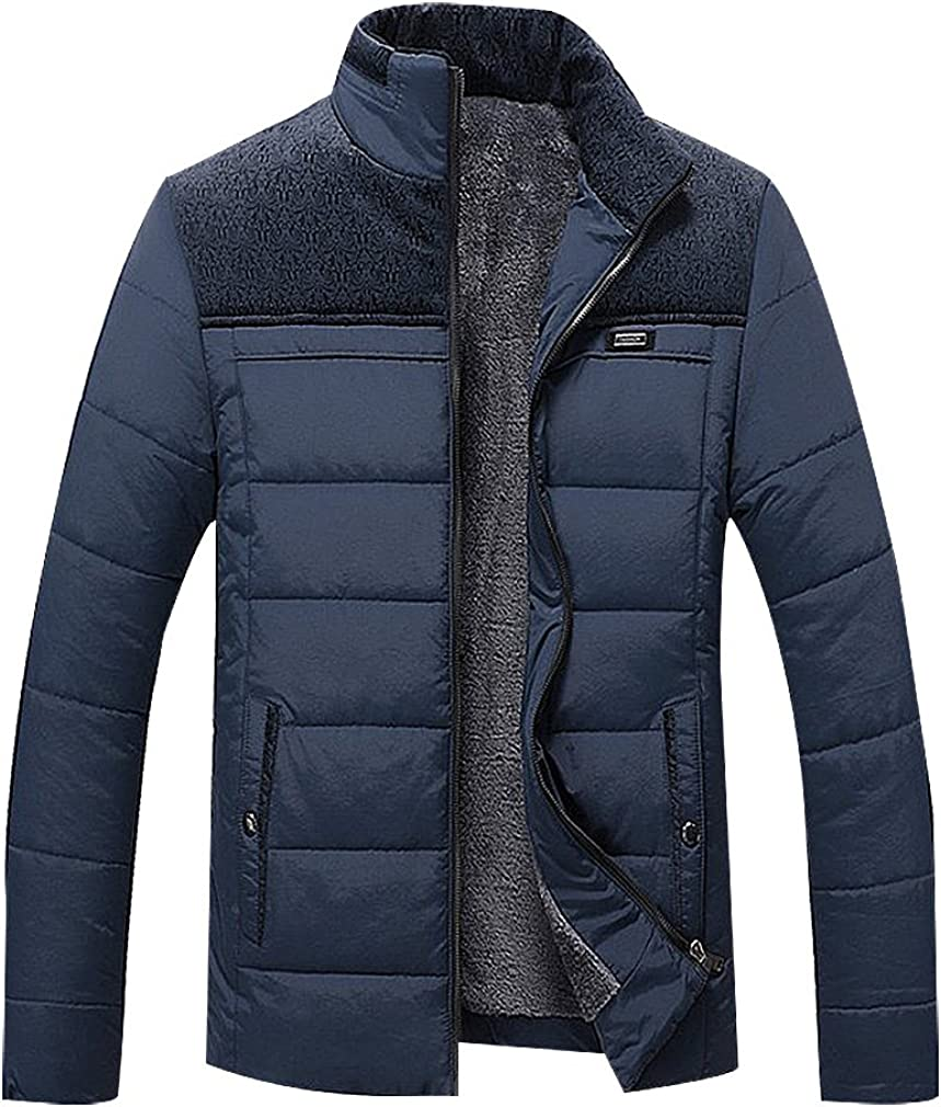 BAMan Men Cashmere Lined Quilted Zip Up Stand Collar Print Detail Jacket