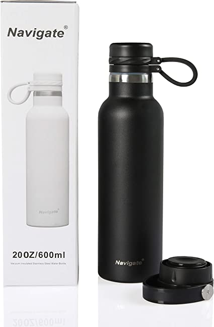 20 Oz Stainless Steel Water Bottle With Two Lids Double Walled Vacuum Insulated Sports Thermos With Standard Mouth For Hiking Yoga Cycling Black 20 Oz Sports Water Bottles Amazon Canada