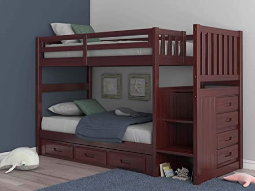 Discovery World Furniture Mission Twin Over Twin Staircase Bunk Bed