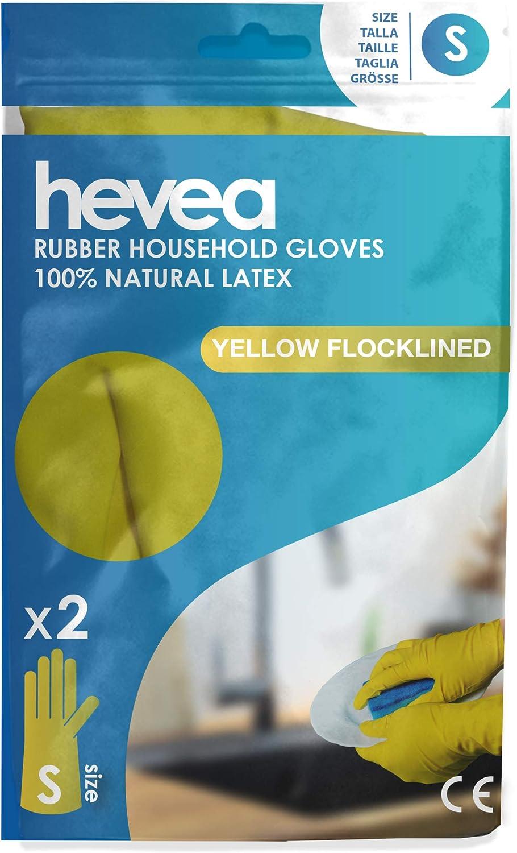 Petite Hevea Couleur : Jaune Lot de 12 paires Taille : S Gants en latex avec int/érieur ouat/é pour une utilisation /à la maison