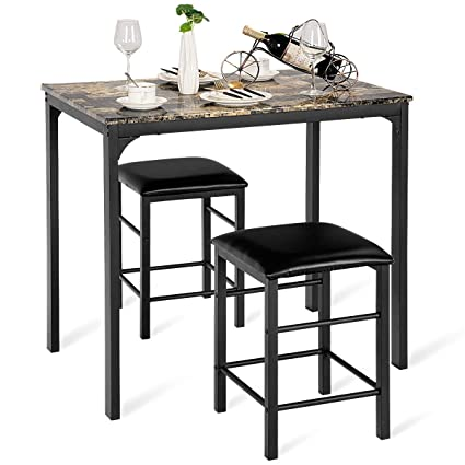 Merveilleux Giantex 3 PCS Table Set Faux Marble Counter Home Kitchen Bar Dining Table  With 2 Stools