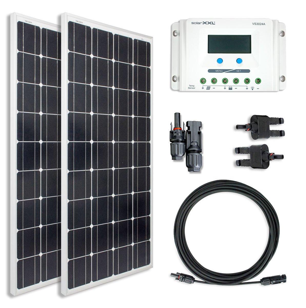 200W Komplettset Solarmodul Mono - Laderegler - Kabel & Stecker - Solarpanel - Camping - solarXXL