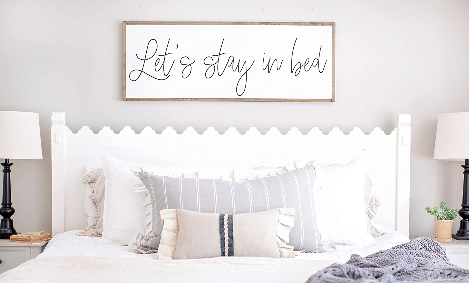 Prz0vprz0v Framed Wood Sign Rustic Wooden Sign Lets Stay In Bed Sign Bedroom Wall Decor Let S Stay In Bed Wood Sign Master Bedroom Signs Signs For Above Bed 6 X 20 Inch