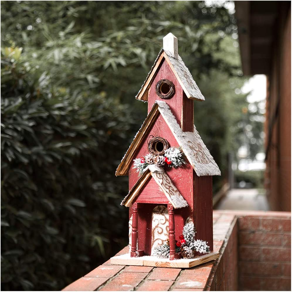 Amazon Com Glitzhome 23 H Oversized Hand Painted Wooden Church Bird House Garden Birdhouse For Outside Christmas Outdoor Decorations Garden Outdoor