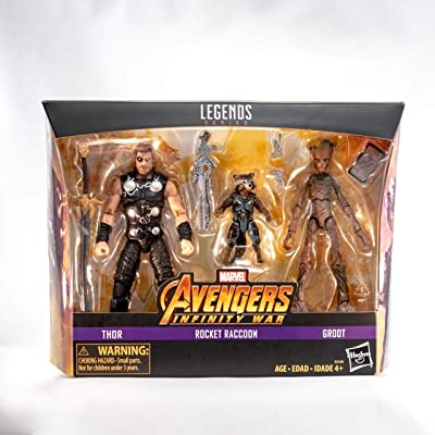 Entertainment Earth Marvel Legends Thor, Rocket, and Groot Action Figures: Toys & Games
