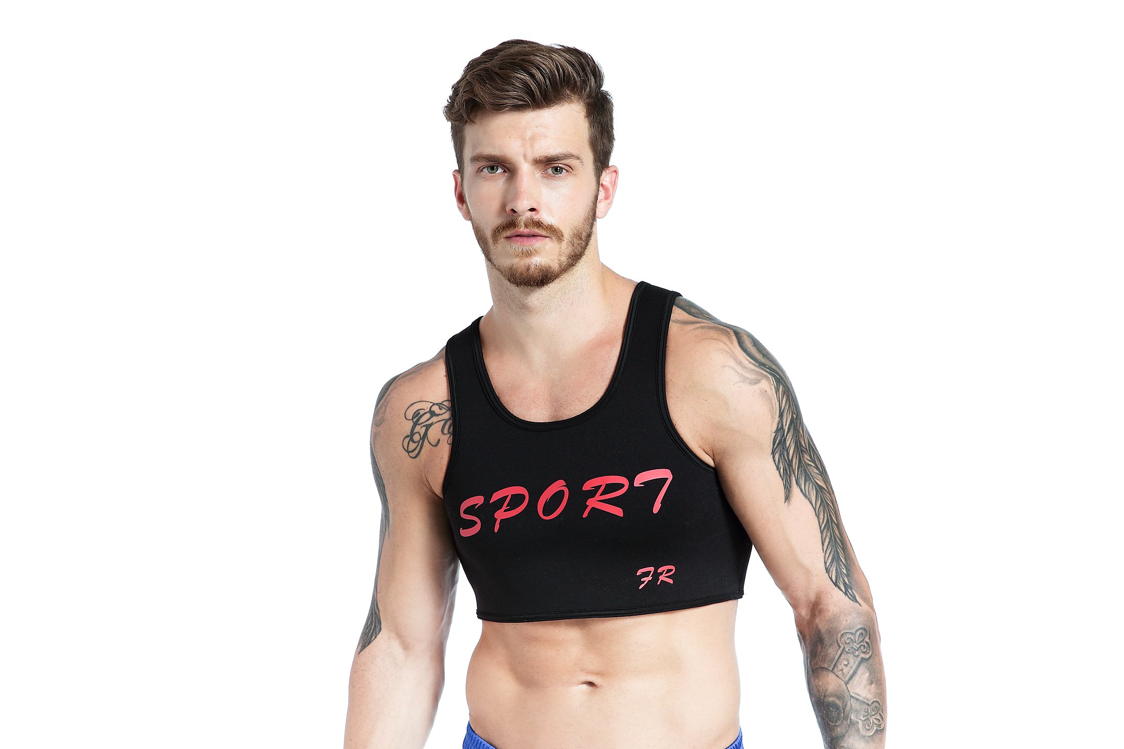 F plus R Mens Neoprene Chest Supports Braces Vest Protective Gear Fitness Sports Injury Prevention and Recovery Black Small