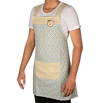 Hokipo Exquisite Waterproof Cotton Kitchen Apron - Free Size With Front Pocket (Light Blue)