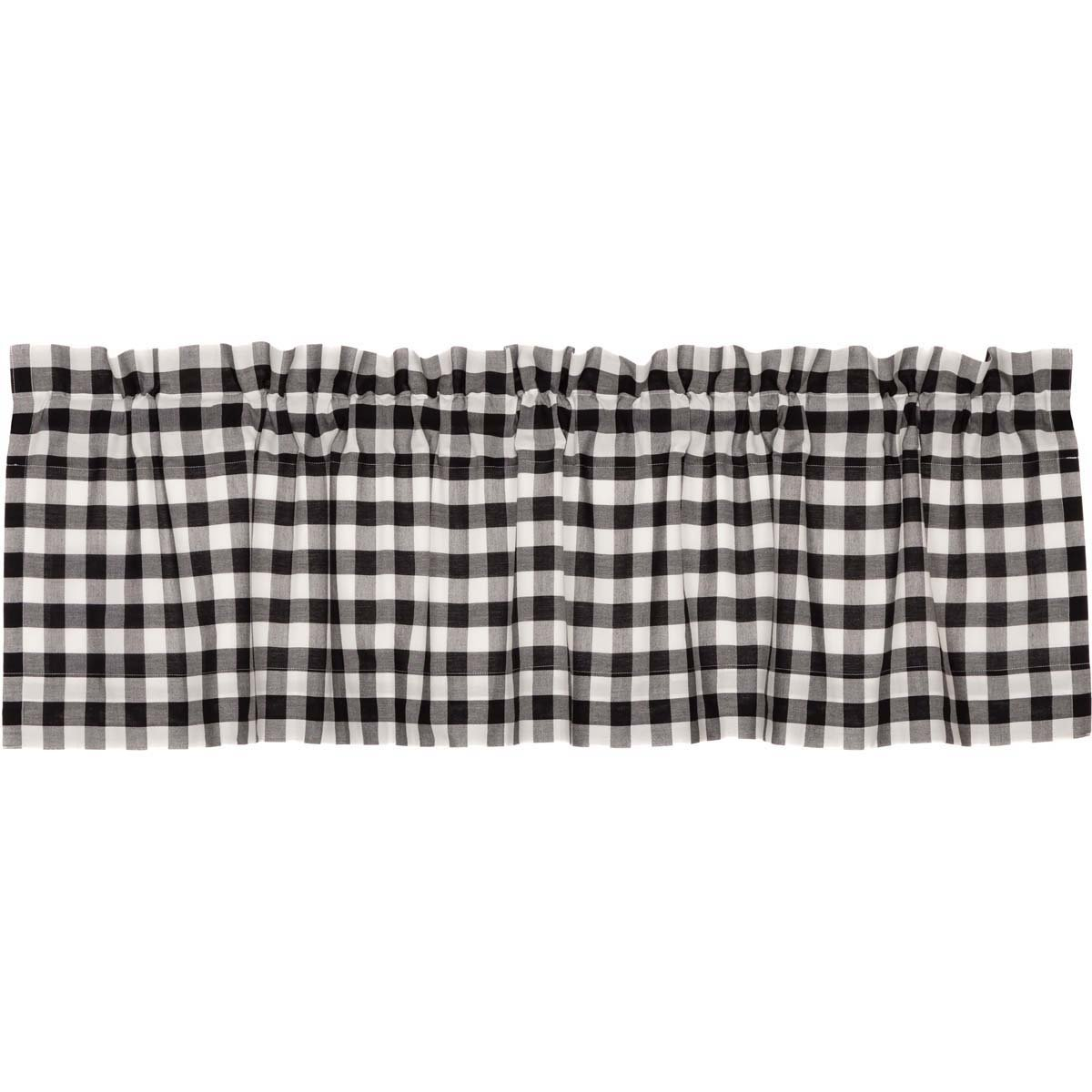VHC Brands Classic Country Farmhouse Kitchen Window Curtains - Annie Buffalo Check White Lined Valance, 16'' x 60'', Black by VHC Brands