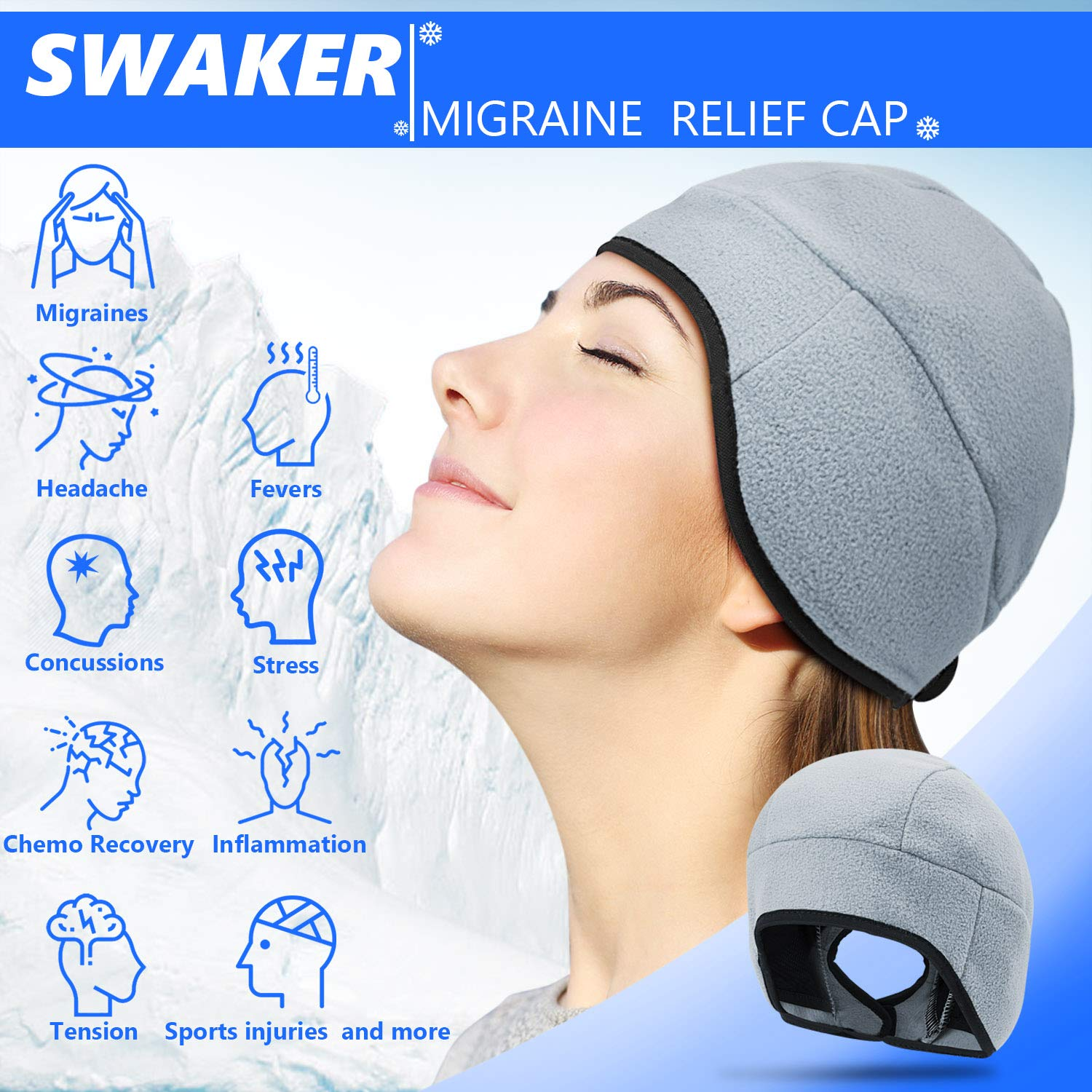 Headache and Migraine Relief Cap, Migraine Ice Pack for Headache, Migraine, Pressure, Tension Pain Relief, Wearable Gel Ice Cap (Grey)