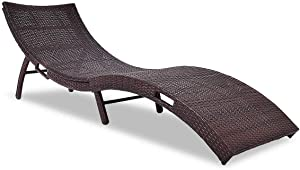 Tangkula Patio, Wicker Rattan Heavy Duty 440 lbs Weight Capacity Portable All Weather Resistant Outdoor Lounger Chair, Foldable Chaise Lounge, Suitable for Poolside, Garden, Balcony, Mix Brown