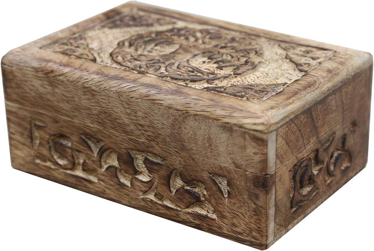 Black book-shaped Celtic Triskel and Sword  themed wooden jevelery boxcasket