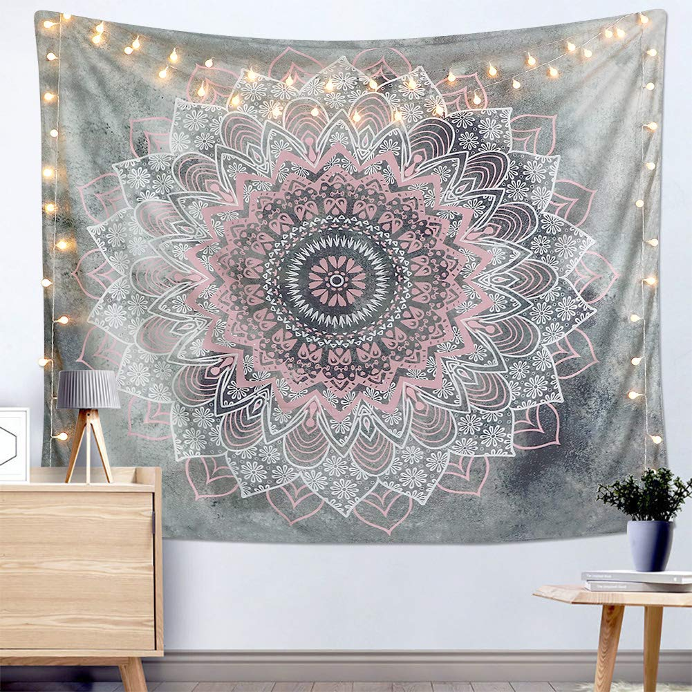 "Dremisland Indian Tapestry Hippie Bohemian Grey&Pink Mandala Flower Tapestry Wall Hanging Bedding Tapestry (Pink&White Flower, M:59""X51"")"