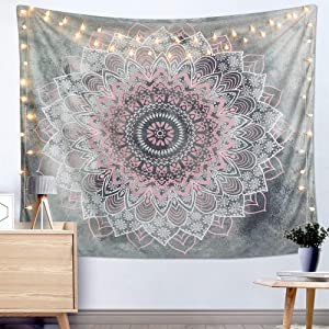 """Dremisland Indian Tapestry Hippie Bohemian Grey&Pink Mandala Flower Tapestry Wall Hanging Bedding Tapestry (Pink&White Flower, M:59""""X51"""")"""