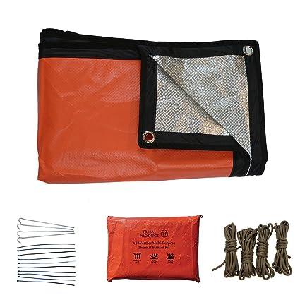 Kit de emergencia con manta térmica reusable naranja, apto para cualquier condición