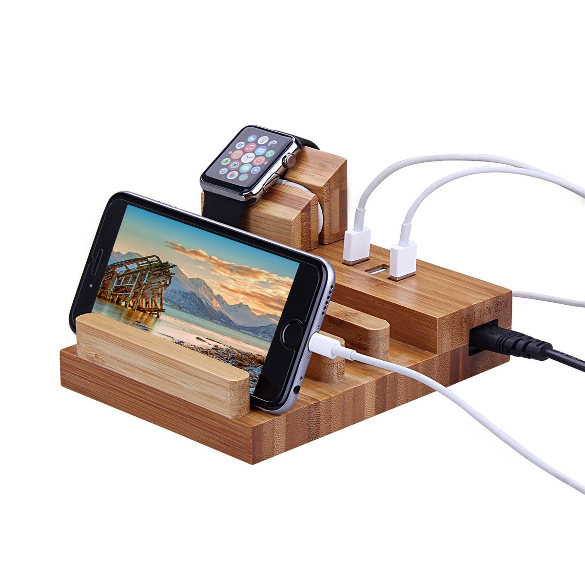 Wood Charging Station, MWAY Bamboo Wood USB Charging Organizer Dock Apple Watch Charger Bracket Stand, for iPhone 7/7Plus/6s/6/Plus/5s,iPad,Samsung,Most Smartphones,3 USB Ports 5V 3A 2