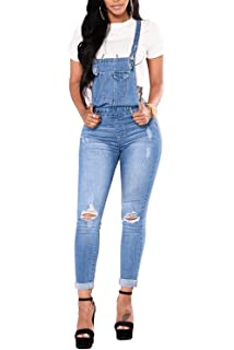 284cf7c406b Ybenlow Womens Ripped Jeans Overalls High Waisted Skinny Denim Pants Long  Jumpsuits