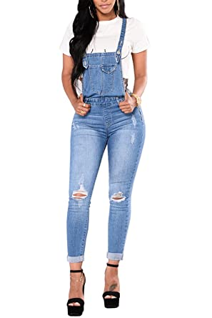 6446441eda99 Amazon.com  Ybenlow Womens Ripped Jeans Overalls High Waisted Skinny Denim  Pants Long Jumpsuits  Clothing