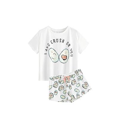 6d82eadec57c DIDK Women s Cute Cartoon Print Tee and Shorts Pajama Set White M